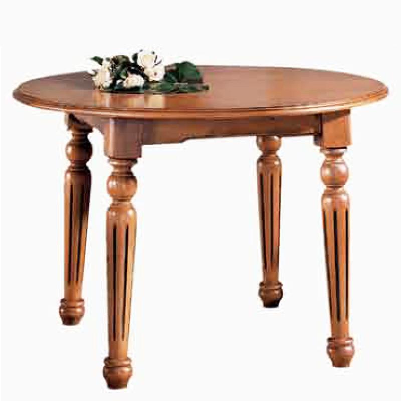 Mesa de comedor redonda fija de madera de pino for Mesa comedor redonda madera