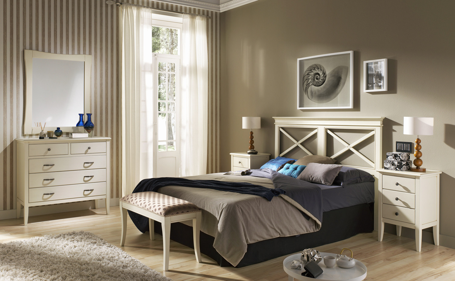 cabecero de cama en madera y con aspas para dormitorios matrimoniales. Black Bedroom Furniture Sets. Home Design Ideas